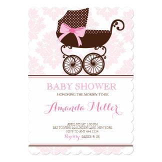 Pink Damask Pram Baby Shower Girl Invitations