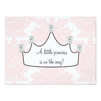 Pink Damask Princess Baby Girl Shower 17 Cm X 22 Cm Invitation Card