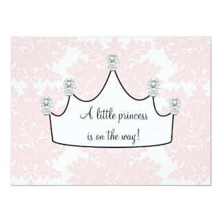 Pink Damask Princess Baby Girl Shower 6.5x8.75 Paper Invitation Card