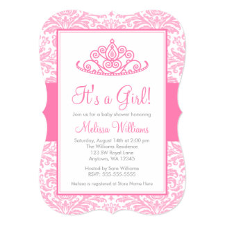 Pink Damask Princess Crown Girl Baby Shower Card