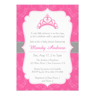 Pink Damask, Princess Crown, Girl Baby Shower Personalized Invites
