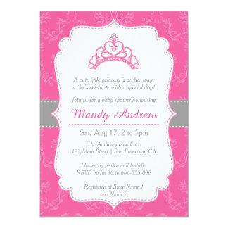 Pink Damask, Princess Crown, Girl Baby Shower 4.5x6.25 Paper Invitation Card