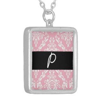 Pink Damask Print monogram initials merchandise Jewelry