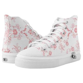 Pink Damask Printed Shoes