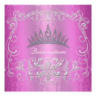 Pink Damask Quinceanera Diamond Tiara Invite