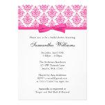 Pink Damask Ribbon Bow Bridal Shower Custom Invitation