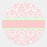 Pink Damask Round Sticker