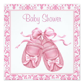 Pink Damask Satin Booties Baby Girl Shower 13 Cm X 13 Cm Square Invitation Card