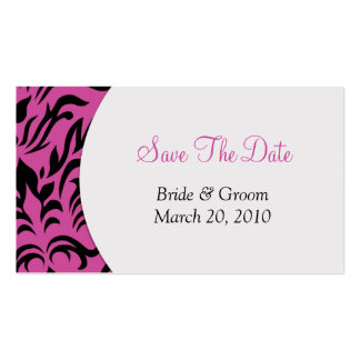 Pink Damask Save The Date Business Cards
