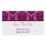 Pink Damask Save The Date Double-Sided Standard Business Cards (Pack Of 100)