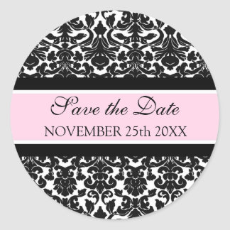 Pink Damask Save the Date Envelope Seal Round Sticker