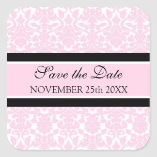 Pink Damask Save the Date Envelope Seal Square Sticker