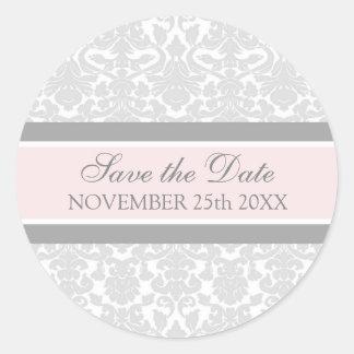 Pink Damask Save the Date Envelope Seal Round Sticker