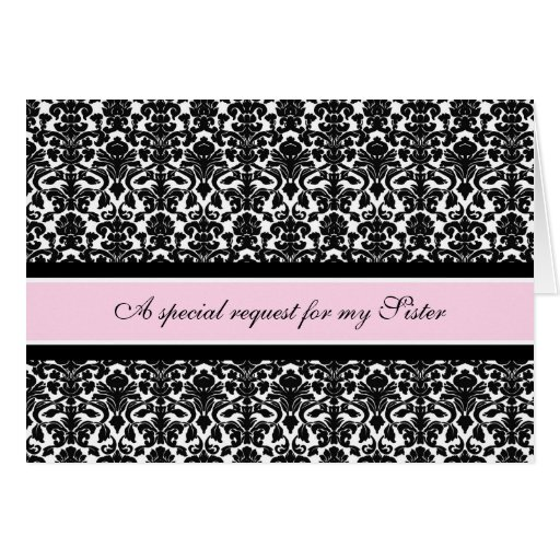 Pink Damask Sister Maid of Honor Invitation Greeting Cards