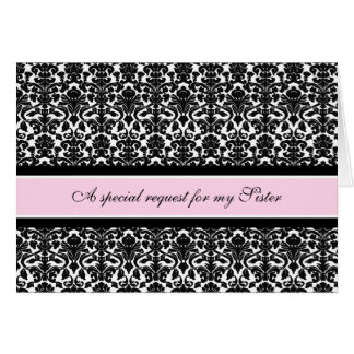 Pink Damask Sister Matron of Honor Invitation