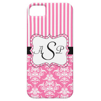 Pink Damask Stripes Personalized Monogram Case For The iPhone 5