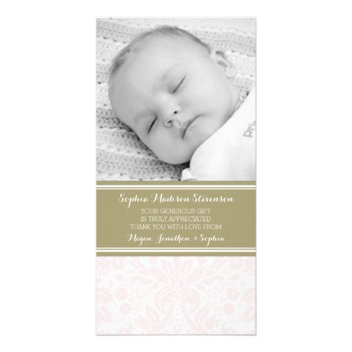 Pink Damask Thank You Baby Shower Photo Cards