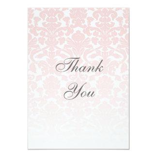 Pink Damask Thank You Card 13 Cm X 18 Cm Invitation Card