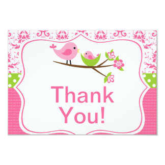 Pink Damask Thank you note cards with birds 9 Cm X 13 Cm Invitation Card