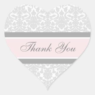 Pink Damask Thank You Wedding Envelope Seals Heart Sticker