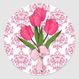 Pink Damask Tulips Sticker