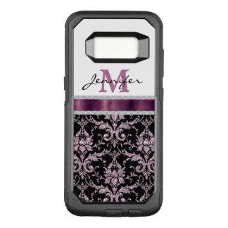 Pink Damask Violet Monogram OtterBox Commuter Samsung Galaxy S8 Case