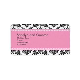 Pink Damask Wedding Address Labels