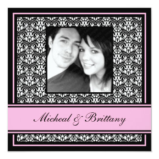 "Pink Damask Wedding Engagement Announcement 5.25"" Square Invitation Card"