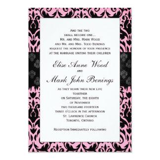"Pink Damask Wedding Invitation Template 5"" X 7"" Invitation Card"
