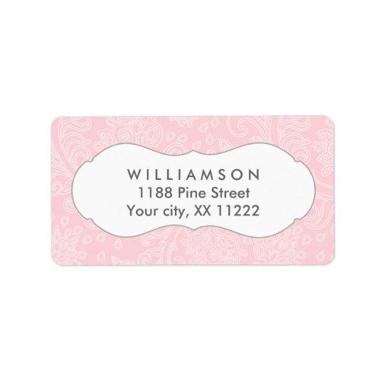 Pink damask wedding or baby bridal shower label