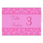 Pink Damask Wedding Reception Table Number Cards