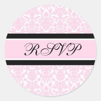 Pink Damask Wedding RSVP Envelope Seals Round Sticker