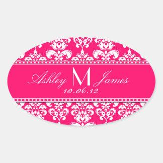 Pink Damask Wedding Wine Label Oval Oval Sticker