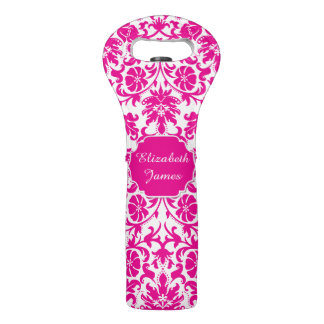 Pink Damask Wine Bag