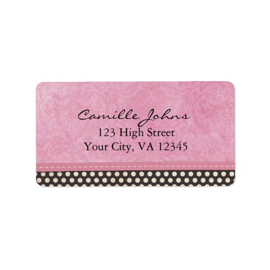 Pink Damask with Black and White Polka Dots Label