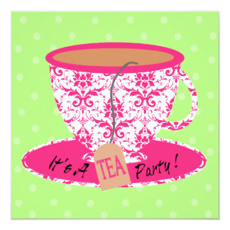 Pink Damask with Green Tea Cup Tea Party Birthday 13 Cm X 13 Cm Square Invitation Card