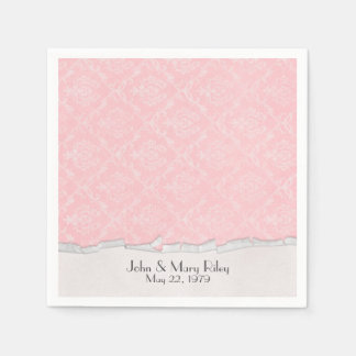 Pink Damask with torn edge border Disposable Napkins