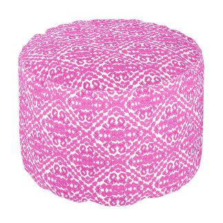 Pink Damasks On White Pouf