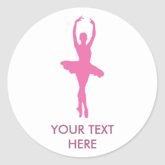 Pink Dancing Ballerina Classic Round Sticker