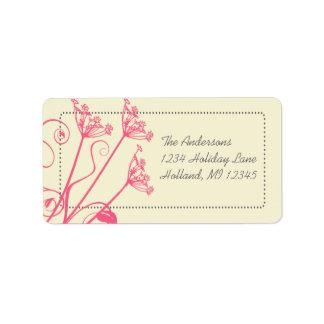 Pink Dandelion Damask Return Address Labels