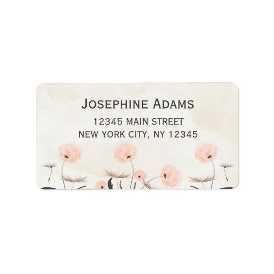 Pink Dandelion Flowers Watercolor Address Labels