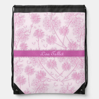 Pink Dandelions Flowers Backpack