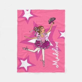 Pink dark hair ballerina girl name ballet blanket