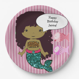 Pink Dark Haired Mermaid Birthday Party Plates 9 Inch Paper Plate