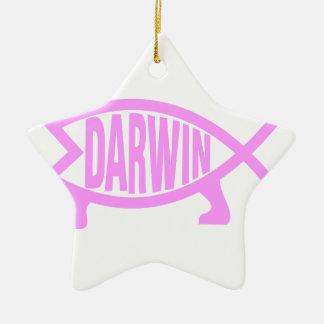 Pink Darwin Fish Ceramic Star Decoration