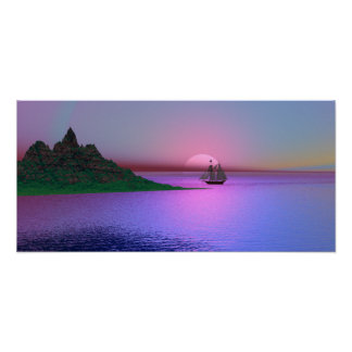 Pink Dawn and Yacht Poster