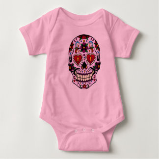 Pink Day of the Dead Baby Bodysuit