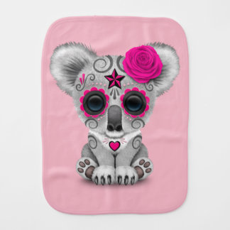 Pink Day of the Dead Baby Koala Burp Cloth