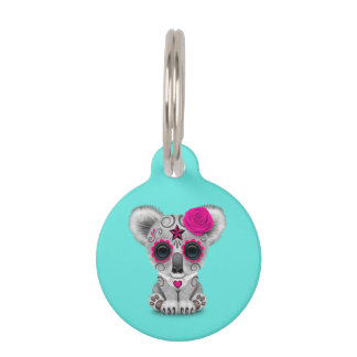 Pink Day of the Dead Baby Koala Pet ID Tag