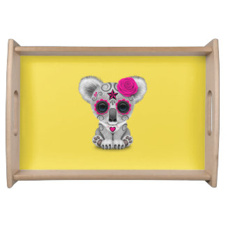 Pink Day of the Dead Baby Koala Serving Tray